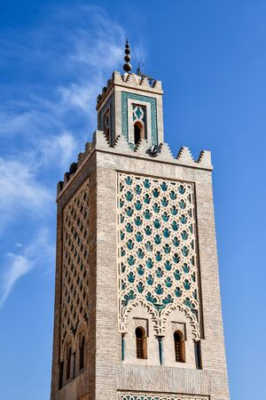 minaret of mosque in marrakech, beautiful photo digital picture