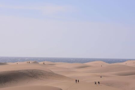 Photo Picture of a Beautiful Dry Desert Landscape in Maspalomas Gran Canaria Canary Islands Imagens
