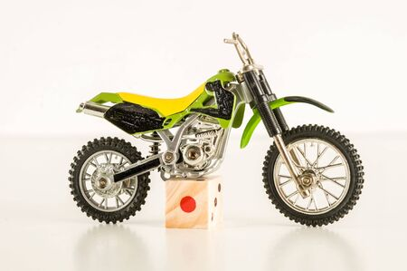 Close-up of cross motorbike motorcycle toy Object on a White Background