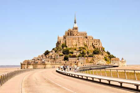 Panoramic view of famous historic Le Mont Saint-Michel tidal island Normandy northern France 写真素材