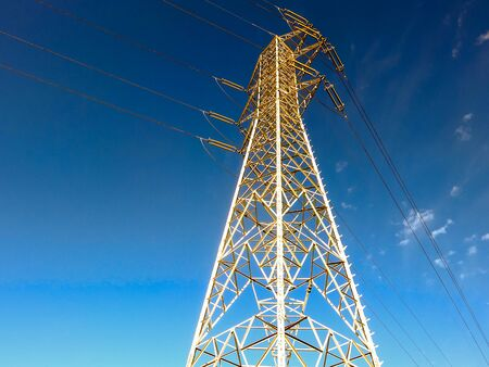 Photo picture of a electricity Pylon tower in the desert