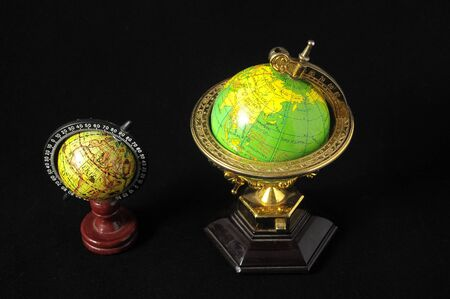 Many Globes Planet Earth on a Black Background