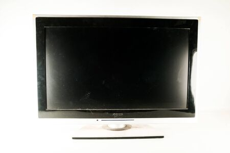 Black LCD tv slim screen monitor on white background