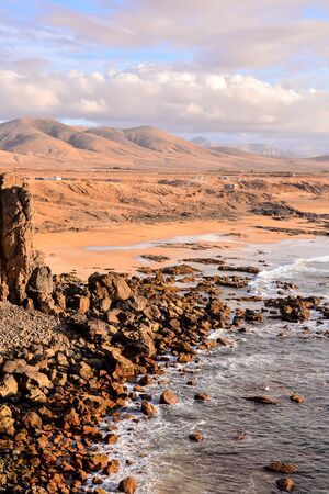 Spanish View Landscape in El Cotillo Fuerteventura Tropical Volcanic Canary Islands Spain