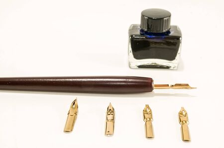 Photo picture of an antique ink fountain pen background Zdjęcie Seryjne