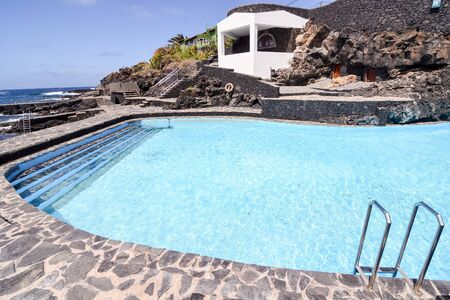 Landscape Swimming Pool Of El Hierro Island Canary Islands Spain Фото со стока