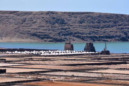 Lanzarote saltworks salinas de Janubio colorful Canary Islands 版權商用圖片