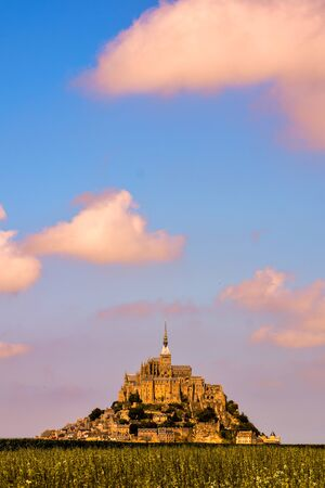 Panoramic view of famous historic Le Mont Saint-Michel tidal island Normandy northern France Stock Photo
