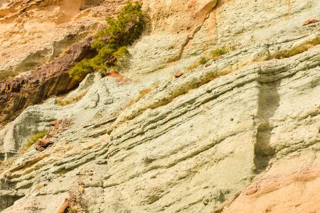 Gran Canaria volcanic landscape Los Azulejos colorful rocks Effect of hydromagmatic eruptions Stock Photo