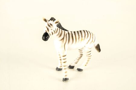 Close-up of zebra plastic animal Object on a White Background Stock Photo