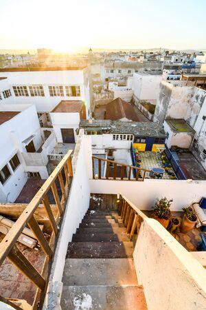 view of Essaouira Medina City of Morocco Africa, in the atlantic coast near Marrakech Stock Photo - 129847583