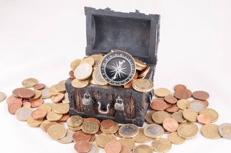 Picture of a Business Money Concept Idea, Treasure Trunk and Money Stok Fotoğraf