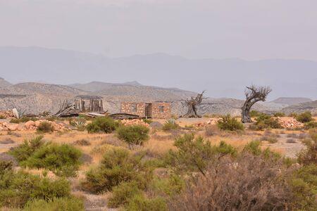 View of the Desert Tabernas in Almeria Province Spain