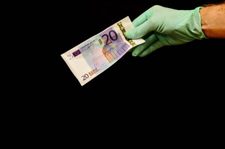 European Euro Money Banknote Currency and Right Hand