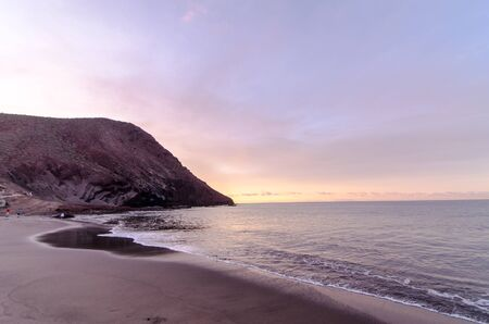 Beach and Wave at Sunrise Time in TenerifeCanary Islands Spain