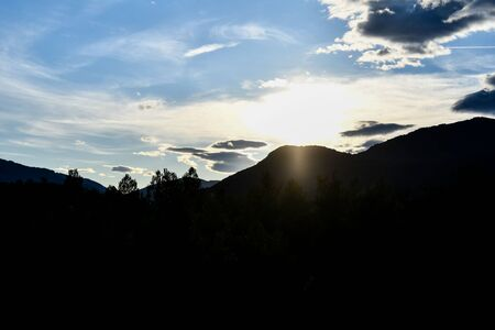 sunset in mountains, photo as a background, digital image