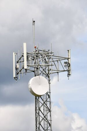 mobile phone tower with antennas, photo as a background, digital image