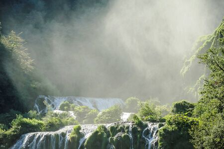 waterfall in the forest, beautiful photo digital picture