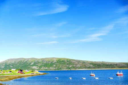 landscape with lake and blue sky, beautiful photo digital picture