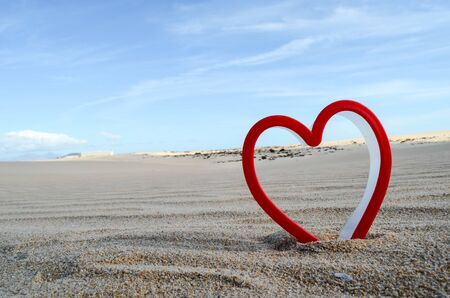 Conceptual Photo Picture of an Heart Love Object in the Dry Desert