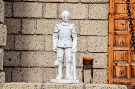 Rock Statue of a Medieval Armor Soldier