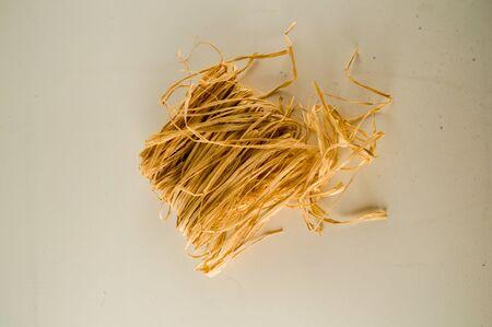 Closeup of golden round hay texture background