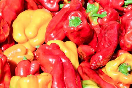 Fresh vegetables Three sweet Red Yellow Green mix Peppers background texture Stockfoto