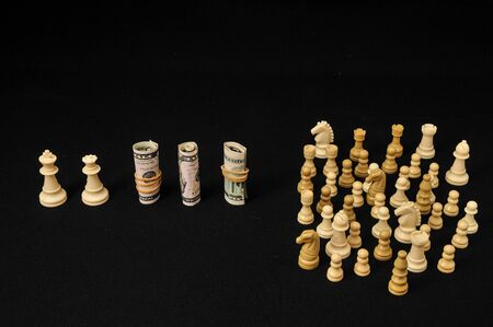 Money Strategy Concept White Chess and Currency on a Black Background