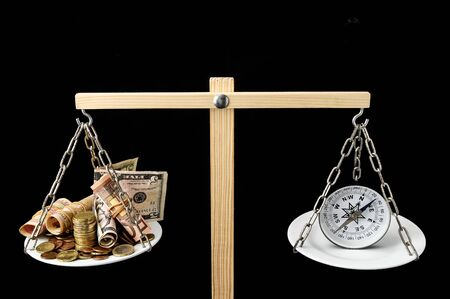 Money and Compass on a Two Pan Balance