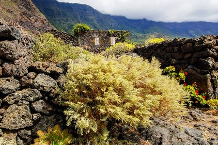 Exterior of Abandoned Stone Made Houses In a Medieval Village El Hierro Island Spain 写真素材 - 138835763