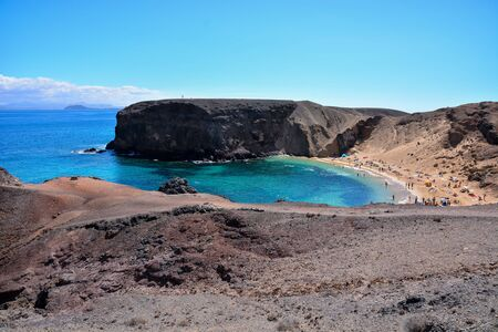Spanish View Landscape in Papagayo Playa Blanca Lanzarote Tropical Volcanic Canary Islands Spain Banco de Imagens