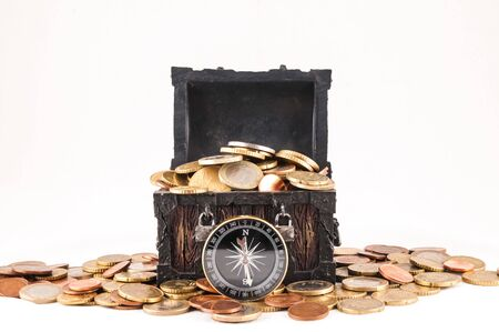 Picture of a Business Money Concept Idea, Treasure Trunk and Money Banco de Imagens