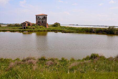 Fotos von Landschaft des Flusses Po-Delta in Italien Standard-Bild