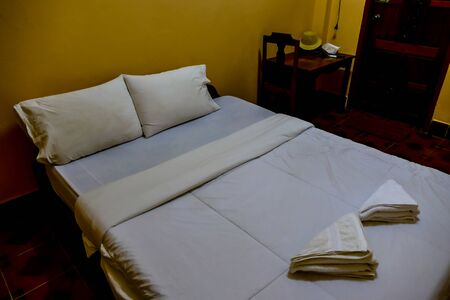 double bed in hotel room, beautiful photo digital picture