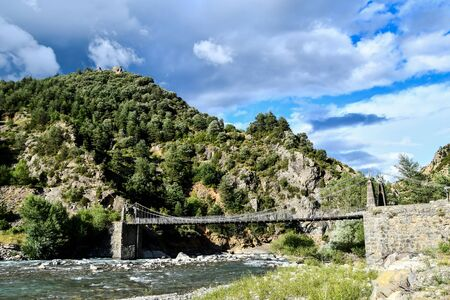 bridge in the mountains, photo as a background, digital image
