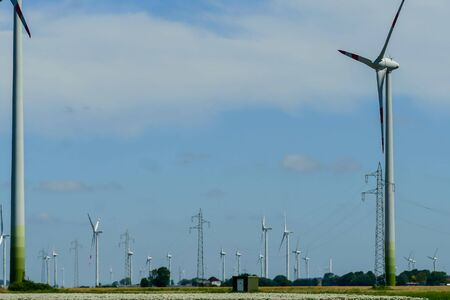 wind turbines in the field, beautiful photo digital picture Imagens