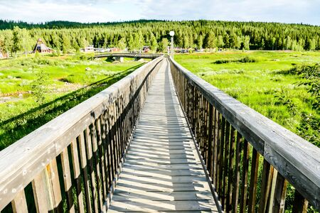 wooden bridge over river, beautiful photo digital picture