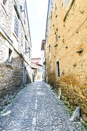narrow street in old town of portugal, photo as a background, digital image
