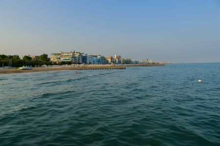 Pier Beach of Lido di Jesolo at adriatic Sea in a beautiful summer day Italy