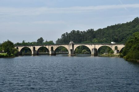 bridge over the river, photo as a background, digital image Stock Photo