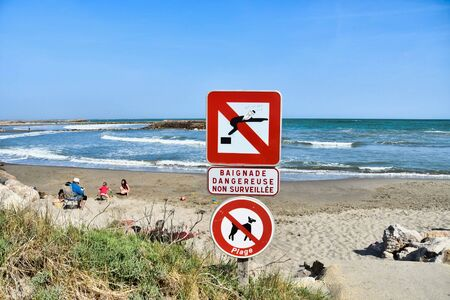 no swimming sign, photo as a background, digital image Stock fotó