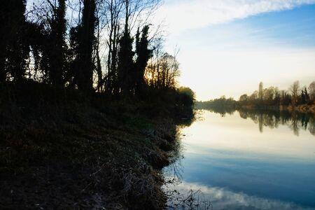 sunrise over lake, photo as a background Imagens