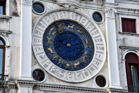 astronomical clock in venice, photo as a background, digital image 版權商用圖片