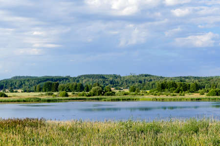 landscape with lake and blue sky, in Sweden Scandinavia North Europe Imagens