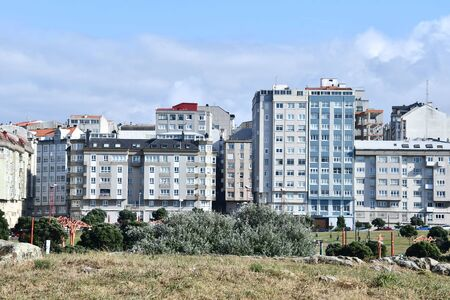 buildings in city, photo as a background , in a coruna north spain, galicia, spain, europe Stock Photo