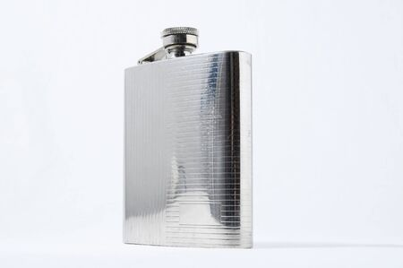 Metal Bottle for Liquors isolated on a White Background