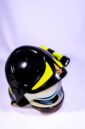 Black Italian Firefighter Helmet on a White Background