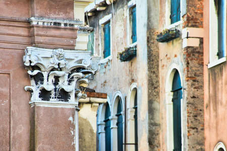 facade of old house in venice italy, photo as a background, digital image