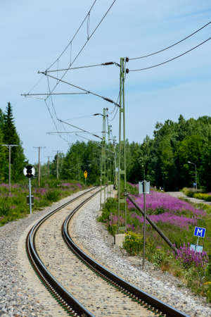 railway in forest, in Sweden Scandinavia North Europe