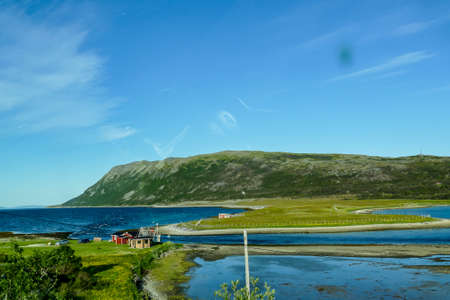 landscape with lake and mountains, in Sweden Scandinavia North Europe , taken in nordkapp, europe
